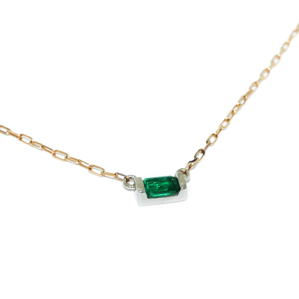 emerald-white-gold-necklace-rose-gold-chain-sydney-jewellers-lizunova