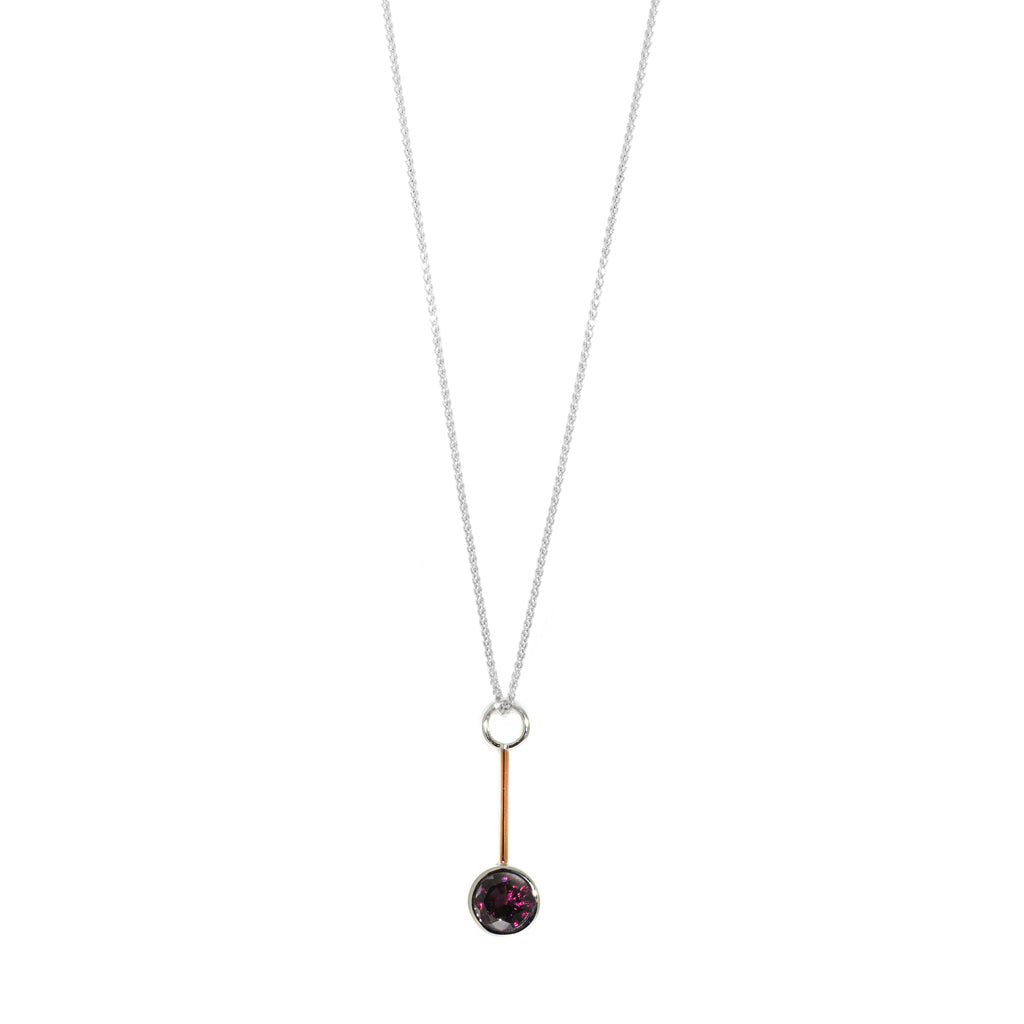 White-gold-rose-gold-garnet-pendant-necklace-Sydney-jeweller-Lizunova