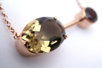 Smoky-quartz-garnet-rose-gold-Satellite-necklace-by-Sydney-jeweller-Lizunova