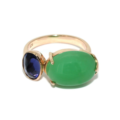 two-stone-contemporary-rose-gold-ring-chrysoprase-iolite-sydney-jewellery-designer-lizunova