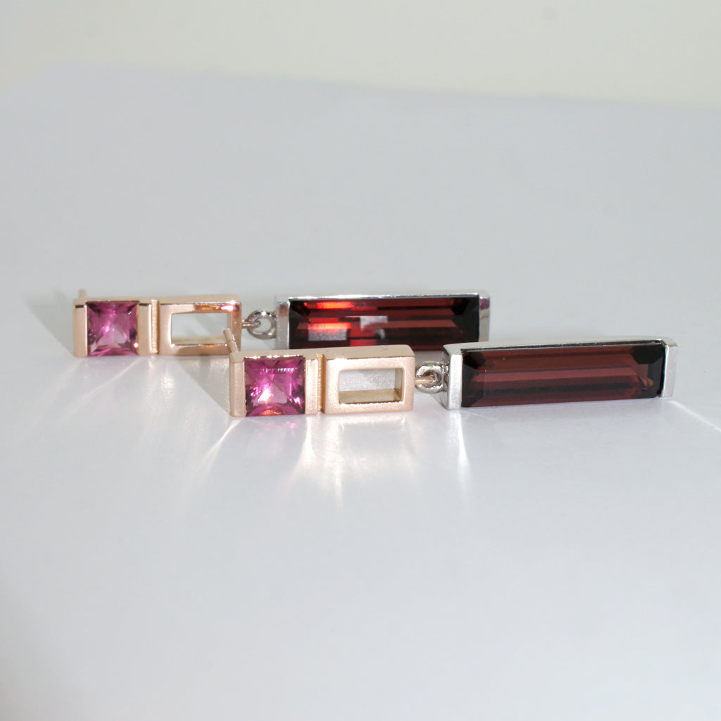 custom-made-earrings-rose-gold-white-gold-garnet-tourmaline-sydney-jewellers-lizunova