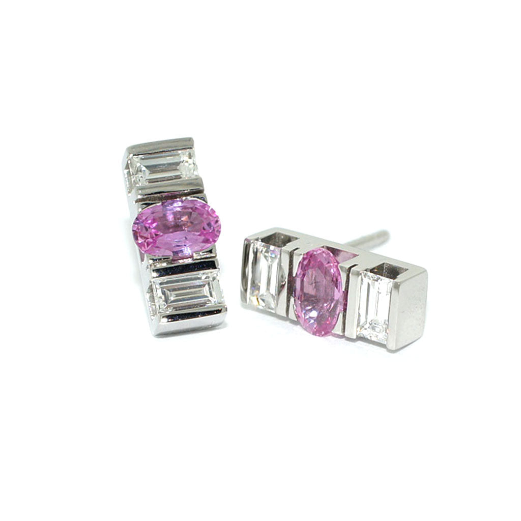Custom-made-diamond-pink-sapphire-white-gold-earrings-sydney-jewellers-lizunova