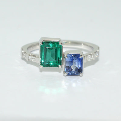 bespoke-emerald-sapphire-baguette-diamond-white-gold-ring-sydney-jewellers-lizunova