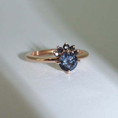 custom-made-grey-spinel-engagement-ring-rose-gold-black-diamond-halo-Sydney-jewellery-designer-lizunova