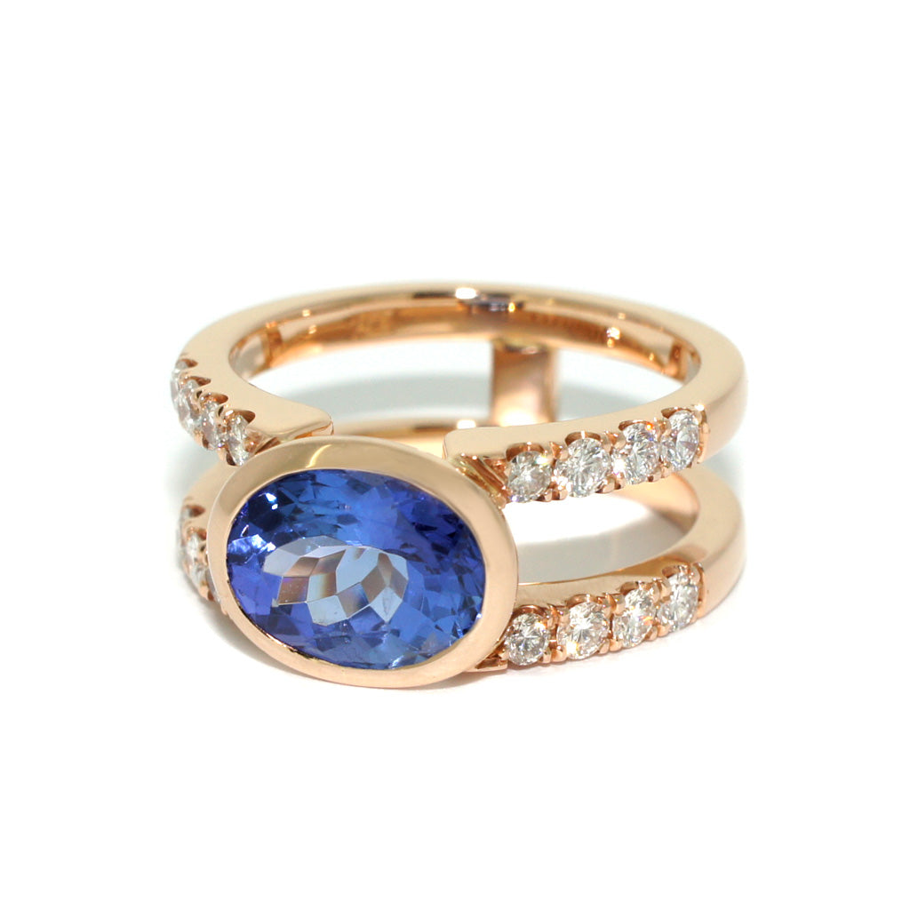 custom-made-Bespoke-rose-gold-Tanzanite-diamond-double-shank-ring-sydney-jeweller-lizunova