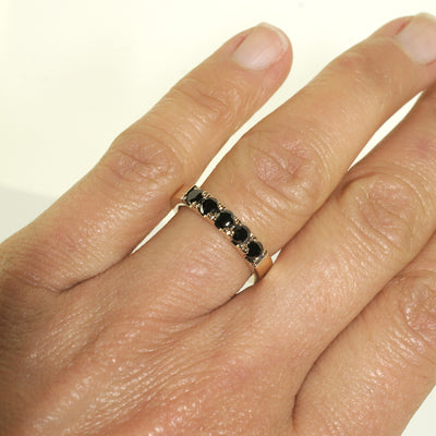 black-diamond-yellow-gold-wedding-band-stack-ring-sydney-jewellery-designer-lizunova