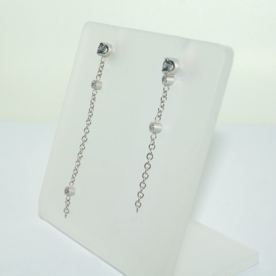 Asymmetric-diamond-spinel-White-gold-earrings-by-Sydney-jewellery-designer-Lizunova