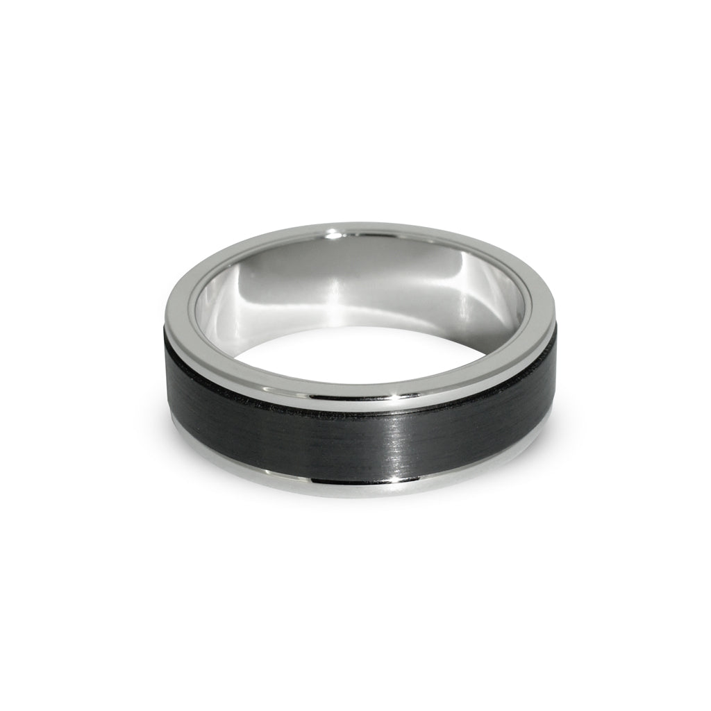 Mens-wedding-ring-custom-made-in-black-zirconium-white-gold-by-contemporary-Sydney-jewellers-lizunova