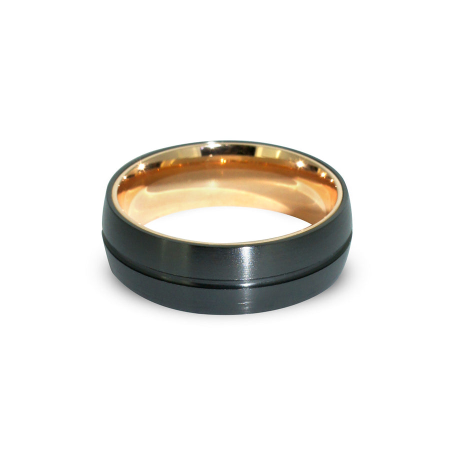 Custom-made-Contemporary-mens-wedding-ring-Black-Zirconium-Rose-Gold-Sydney-jewellers-lizunova