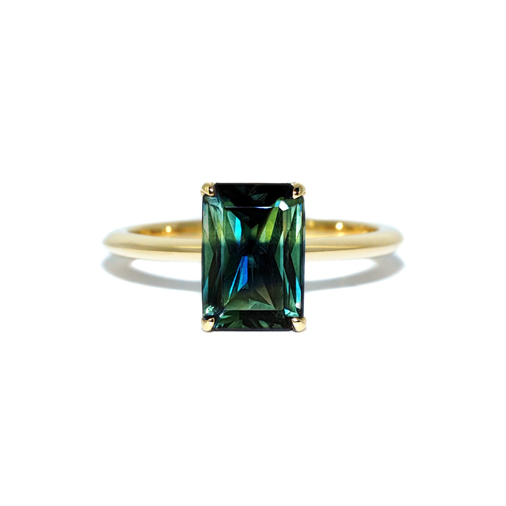Custom-made-bespoke-parti-sapphire-engagement-ring-yellow-gold-Sydney-jeweller-Lizunova-Fine-Jewels-Chifley-Square