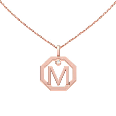 Personalised-Initial-M-diamond-rose-gold-pendant-by-Sydney-jewellers-Lizunova