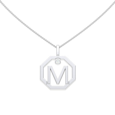 Personalised-Initial-M-diamond-white-gold-pendant-by-Sydney-jewellers-Lizunova