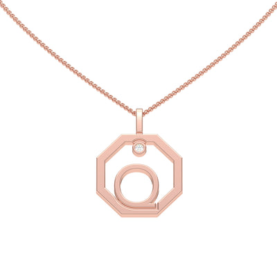 Personalised-Initial-Q-diamond-rose-gold-pendant-by-Sydney-jewellers-Lizunova
