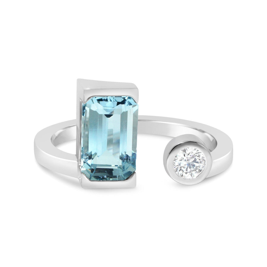 Lizunova Bespoke Aquamarine and diamond engagement ring