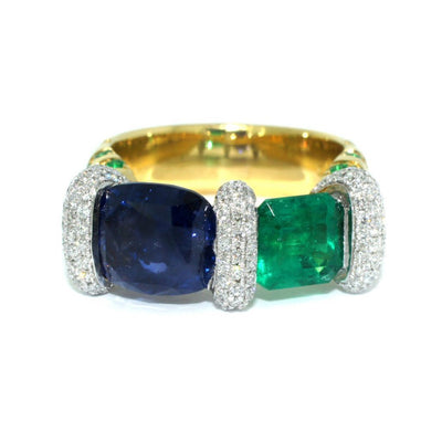 Lizunova Bespoke Sapphire, emerald and diamond ring
