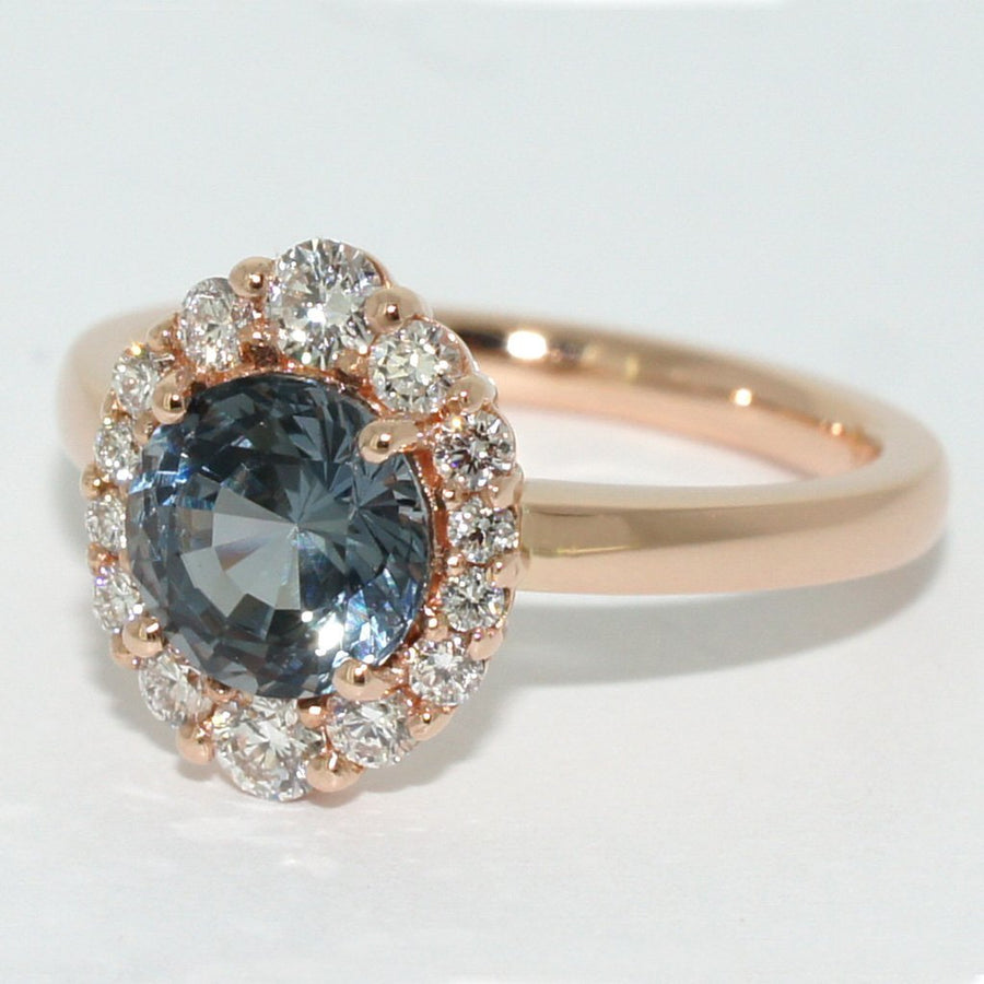 Custom-made-Bespoke-Spinel-diamond-halo-rose-gold-engagement-ring-sydney-jeweller-lizunova
