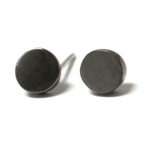 geometric-round-minimalist-stud-Earrings-black-grey-sydney-jewellery-designer-lizunova
