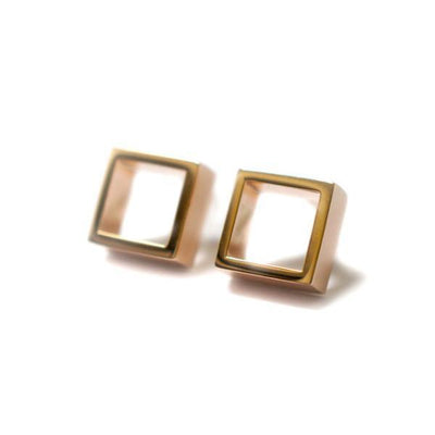 Lizunova Earrings Large Geometric square / rose