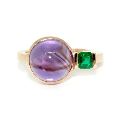 Art-Deco-dress-ring-emerald-amethyst-rose-gold-by-Sydney-jewellery-designer-Lizunova