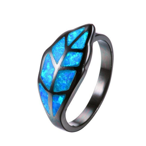 Leaf Blue Opal Fire Ring
