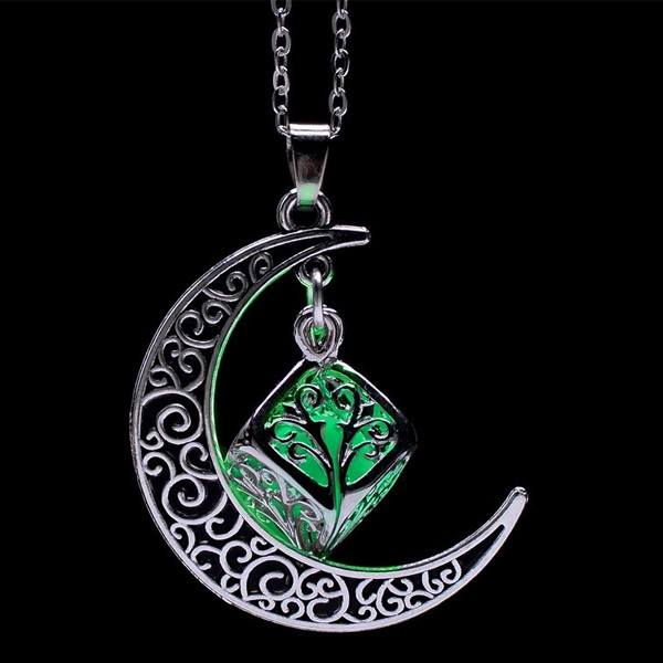 Hollow Crescent Moon Glow In The Dark Necklace