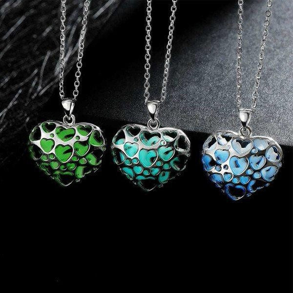 Heart Shape Lover Pendant Necklace Glow In The Dark Necklace
