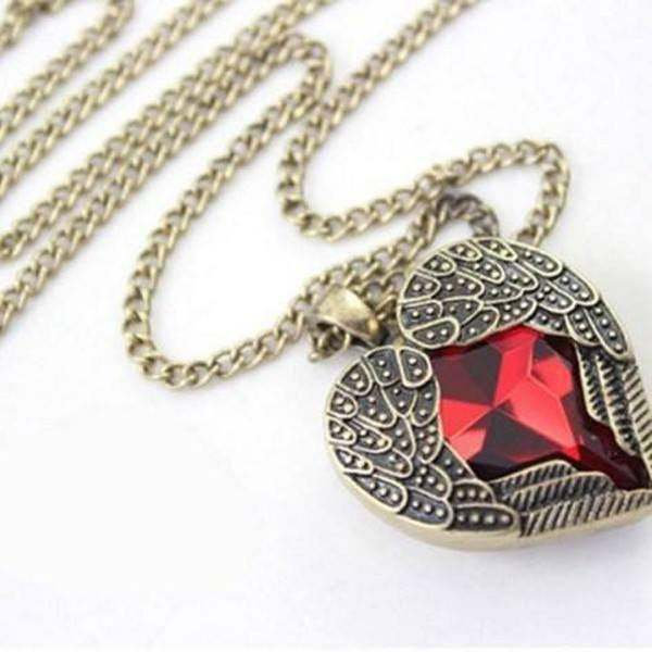 Vintage Heart Shape Ruby Necklace