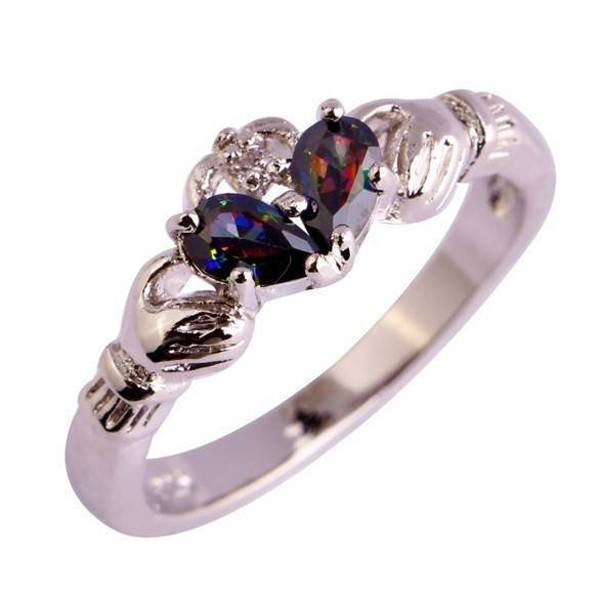 Silver Claddagh Ring With Stones