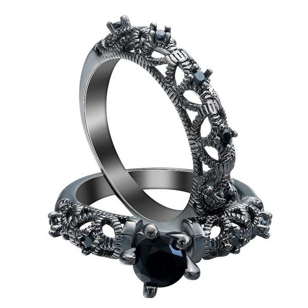 Hollow Stone Ring Set