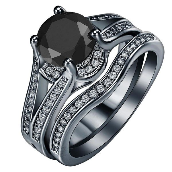Gun Plated Double Band Ring