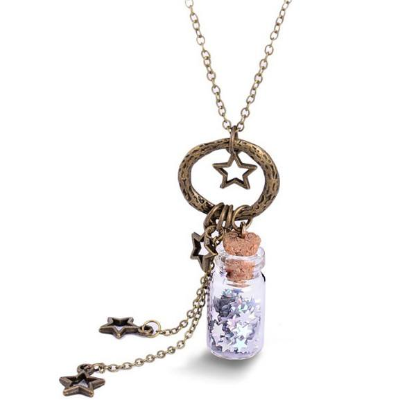 Glitter Stars Glass Magik Bottle Necklace