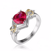 Love Knot Heart Red Ruby Ring