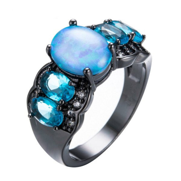 Elegant Unique Fire Blue Opal Ring