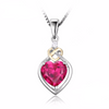 Ruby Love Knot Heart Pendant