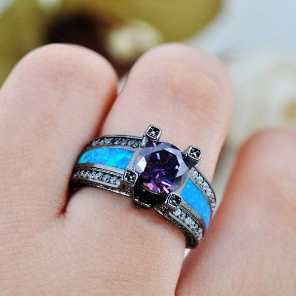 Romantic Blue Opal Amethyst Ring