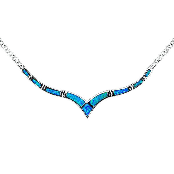 Blue Wave Opal Necklace