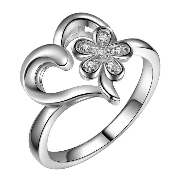 Beautiful Lovely Heart With Flower Ring