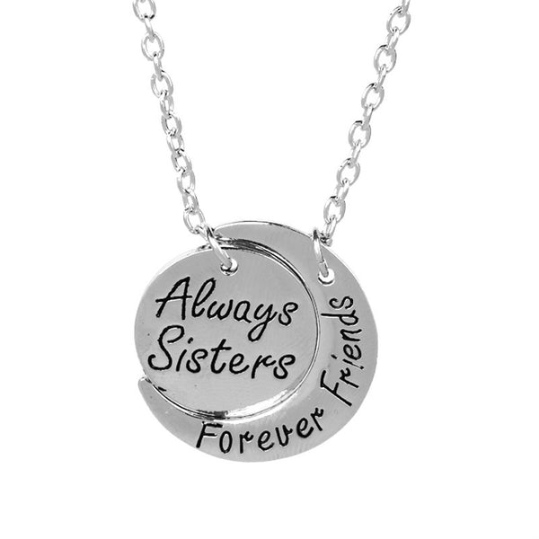 Forever Friends of the Moon Shaped Silver Necklaces