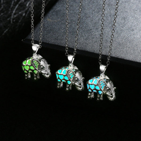 Glowing Elephant Pendant Necklace