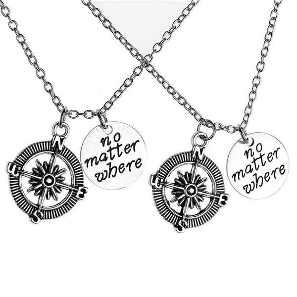 No Matter Where Friendship Charms BFF Friendship Necklace
