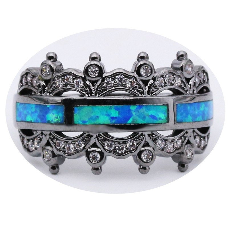 Vintage Blue Opal Party Ring