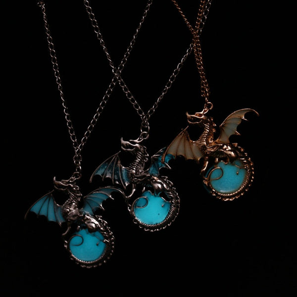 Dragon Punk Glowing Stone Necklace