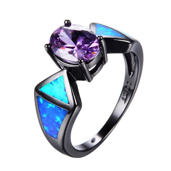 Amethyst Gem With Triangle Blue Fire Opal Ring