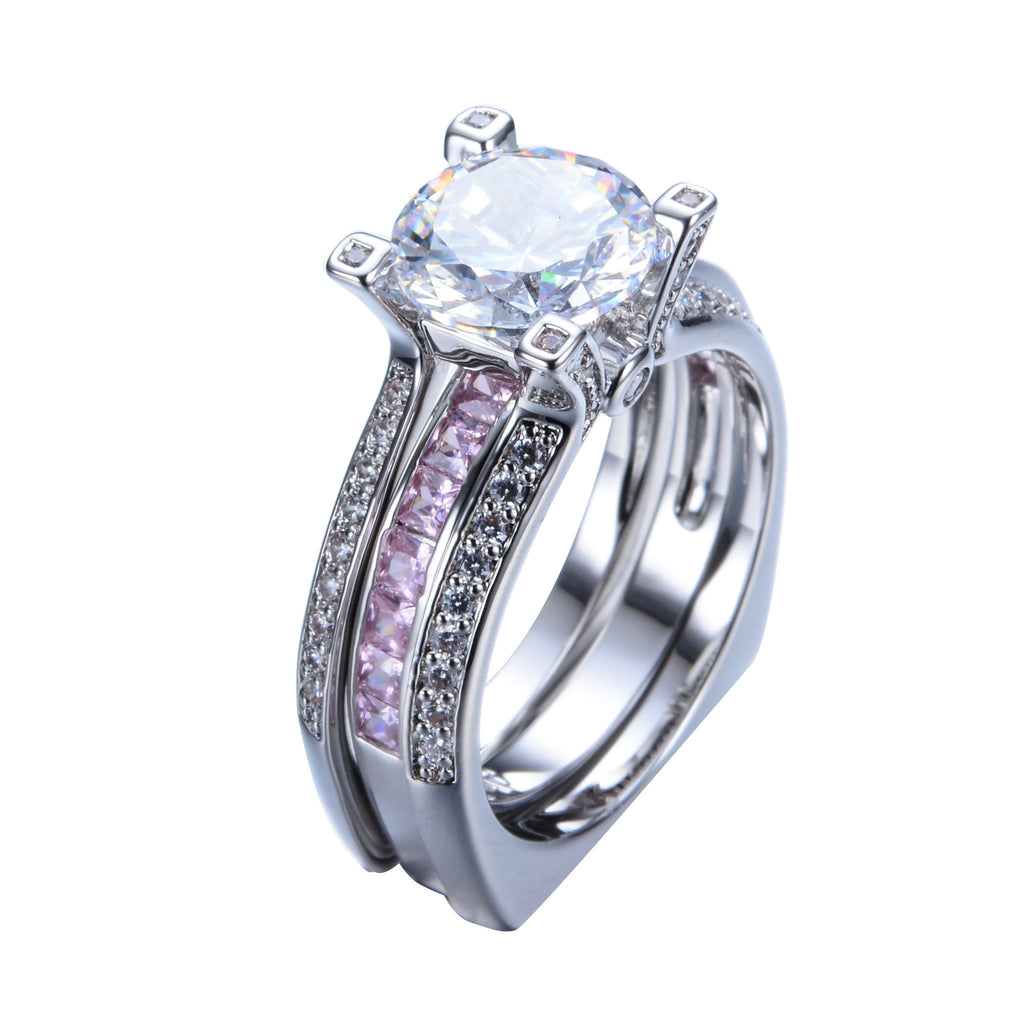 Pink Zirconia Twins Ring