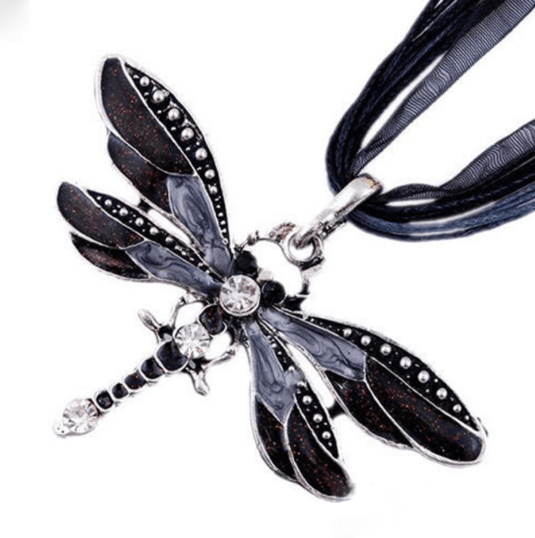 Antique Dragonfly Crystal Necklace
