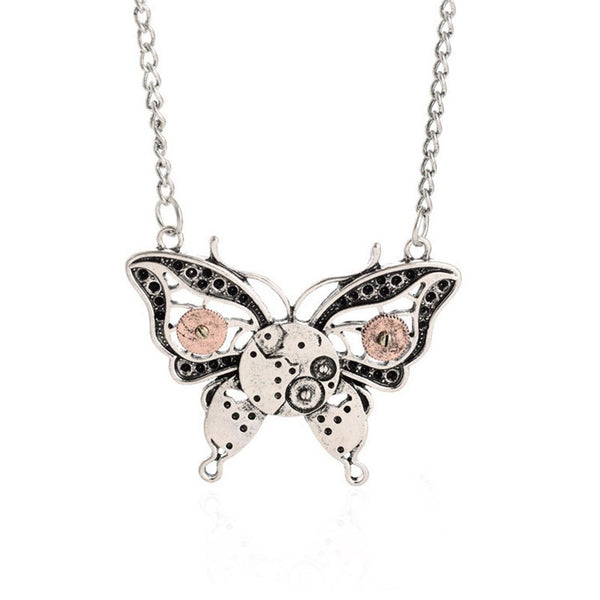 Vintage Butterfly Steampunk Necklace