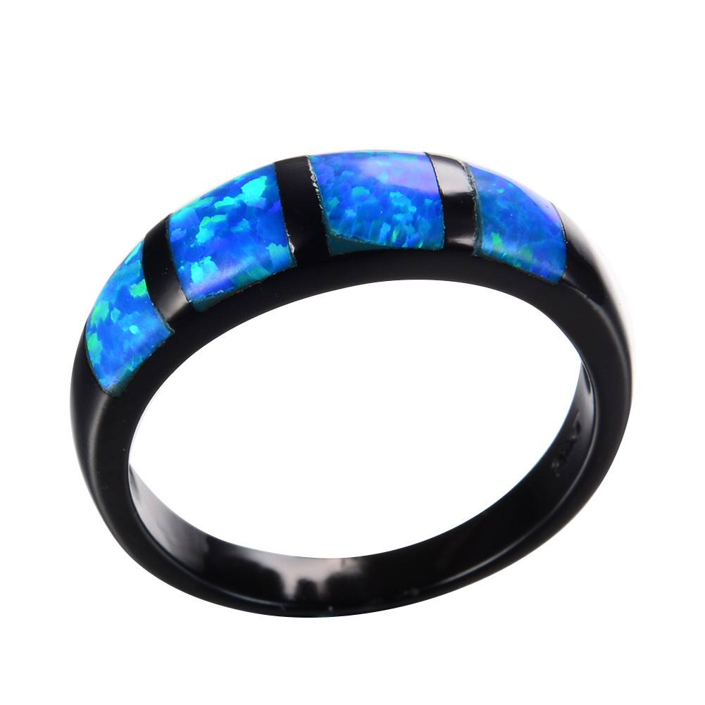 Unique Strip Opal Ring