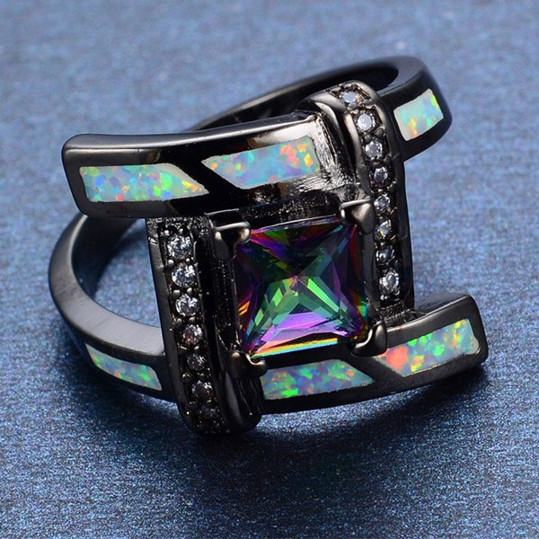 Square Opal in Connecting Edge Ring