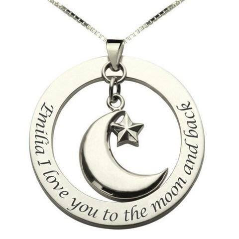 "Personalize ""I Love You To The Moon And Back"" Star & Crescent Moon Necklace **Limited Edition**"