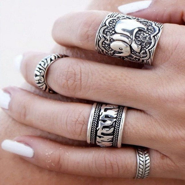 Antique Silver Carved Elephant Ring Set